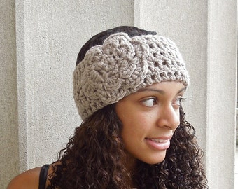 Crochet Headband, Flower Headband, Ear Warmer With Flower, Adult, Crochet, Taupe, Women,Teen, Chunky,