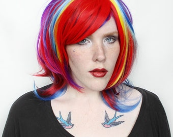 SALE Rainbow wig | Wavy multicolor wig, Scene wig, Colorful wig | Cosplay wig, Halloween wig, Halloween costume | Rainbow Fluff