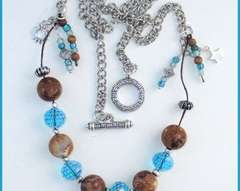 Chunky Gemstone Necklace Agate Glass Wood Linen Cord Pewter Sun Star Charms Chain Turquoise Blue Brown Silver Jewelry Length up to 27in
