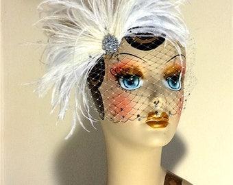 Ivory Bridal Fascinator and Birdcage Veil, Bridal Headpiece,  Bridal Hair Clip, Swarovski Crystals, Great Gatsby, Ivory Hair Clip