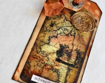 Art Tag, Shipping Tag Art, Ancient Map Tag, Mariner's Tag, Mixed Media Tag, Altered Tag