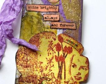 Handmade Tag, Altered Tag, Gold Tag, Signed Art Tag, Mixed Media Tag.