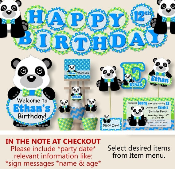 panda birthday party or panda baby shower decorations party package