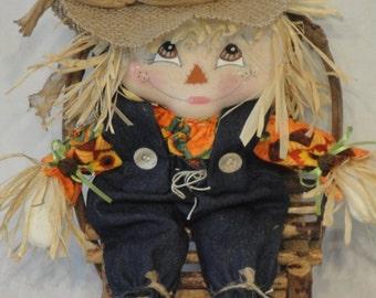 Primitive Fall Scarecrow cloth doll, scarecrow doll, Fall harvest scarecrow doll, hand made scarecrow dolls
