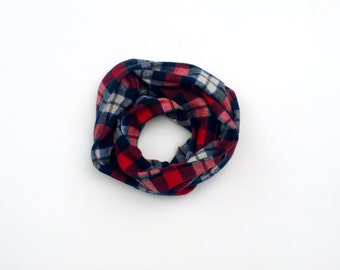 Child Infinity Scarf -  Navy - Toddler Scarf - Plaid Flannel - Huggable Harvest Collection
