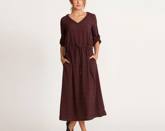 Maxi dress, winter dress, v neck dress, casual Dress, Brunch Dress, long sleeve, maxi length dress, dark orange, elegant prom dress, sale