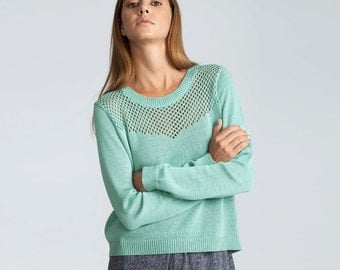 Buy 1 get 1 SALE Pointelle Pullover Mint, women sweater, Knit Sweater,  Long Sleeve sweater, Winter sweater, knitted top