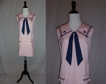 60s Sailor Dress - Pink Navy Blue Stars - Nautical Tunic - Big Collar - Vintage 1960s - M L