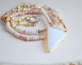 Opal Necklace, Pink Opal Necklace, Pink Peruvian Opal Necklace, Opalite Necklace, Opal Jewelry, Pink Necklace, Opal Stone Necklace, Festival