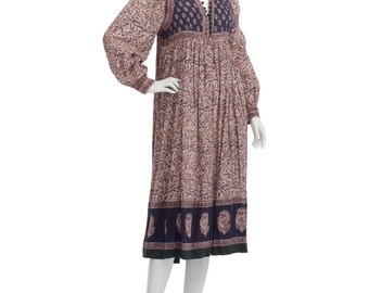 Vintage 70's Indian Sheer Cotton Gauze Ethnic Floral Paisley BIB Puff Sleeves Empire Waist Hippie Boho Festival Tiered Midi DRESS