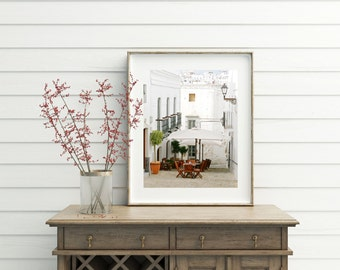 White Kitchen Decor - Portugal Print - European Cafe Photography - Portuguese Wall Art - Travel Photography - Rustic Mediterranean Wall Art