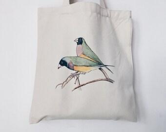 Canvas Tote Bag -- Gouldian Finch