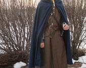 Blue Medieval Cloak- 100% Cotton Full Length Semi-Circular