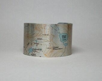 Colorado Trail Map Cuff Bracelet The Needles Columbine Lake Hazel Lake Unique Hiker Gift for Men or Women
