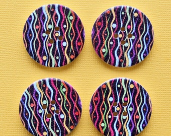 6 Large Wood Buttons Zigzag Abstract Design 30mm BUT221