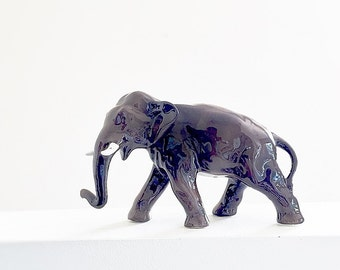 Large Brown Elephant Figurine Vintage Ceramic Statue Collectible Animal Totem Gift Idea For Animal Lover Or Child Home Decor For Zoologist