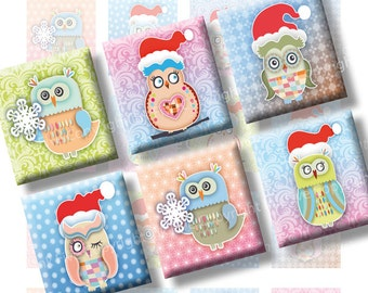 Christmas Owls scrabble tile size images Xmas 0.75x0.83 inch squares. 4x6'' Collage Sheet for scrabble pendants. Digital download printables