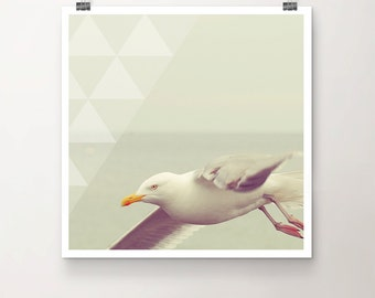 GEOmetry No. 04 - Fine Art Print Photography Overlay Texture Seagull Ocean Water Beach Triangle Geometric