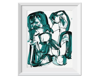 Abstract Ink Painting, Abstract Line Painting, Original Abstract Painting, Green Teal Painting, Water, Line, Ink, Marine Blue Painting