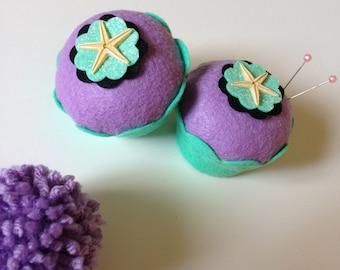 Starfish Felt Cupcake - Home Decor, Ocean Theme, Decorations, Mermaid Party, Pin Cushion, Gifts, Parties