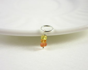 Tiny Charms - Yellow Sapphire Charms - Orange Sapphire Jewelry - Sterling Silver Charms - September Birthstone Jewelry - Virgo Jewelry