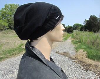 Basic Black Beanie No Words, Men's Lightweight Hats Summer Slouchy Beanie Plain Cotton Knit Slouch Tam A1999