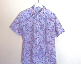 Vintage 1970's lilac flowered short sleeved blouse