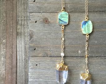 Labradorite & Quartz Healing Necklace // 14K Gold Fill Chain