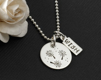 Dandelion Wish Necklace, Dandelion Jewelry, wish necklace, hand stamped dandelion jewelry, sterling silver