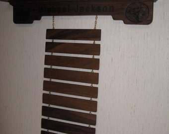 Solid Walnut WS Style Martial Arts Rank Belt Display Rack with Shelf for Trophies, hold 12 belts but can add or subtract any number