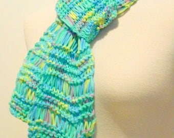 Aqua Pastels Knit Scarf, Hand Knit Scarves, Womens Accessories