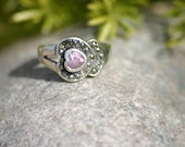 Pink Valentine Heart Sterling Silver Ring, Marcasite Jewelry, Marcasite Ring, Sterling ring, Size 7