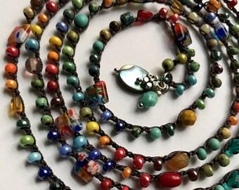 "Crochet wrap bracelet, beaded, ""jungle bird"", mother's day, boho necklace, boho jewelry, crochet jewelry, spring, coffycrochet, gift for her"