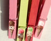 ICE CREAM CONES clothespin green pink red hand painted magnetic clothespin set