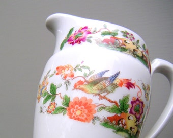 Antique Epiag DF Dallwitz Czech Bird of Paradise Porcelain Creamer Pitcher