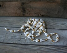 One Strand of Gold & White Beaded Garland - 9 Feet