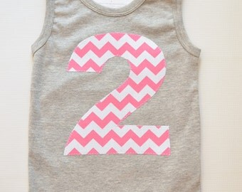 Girls 2nd Birthday Tank Top, Second Birthday Shirt, Gray and Pink, Pink White Chevron, Ready to Ship, Size 2, Applique Number 2 Tank Two 2T