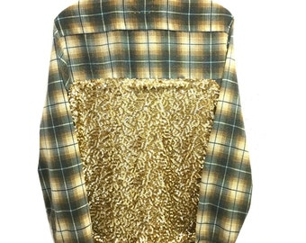 Sequin Flannel Shirt in Gold. Green plaid front pocket sequins back yellow hipster grunge sparkle sequins sequined womens long sleeve ooak