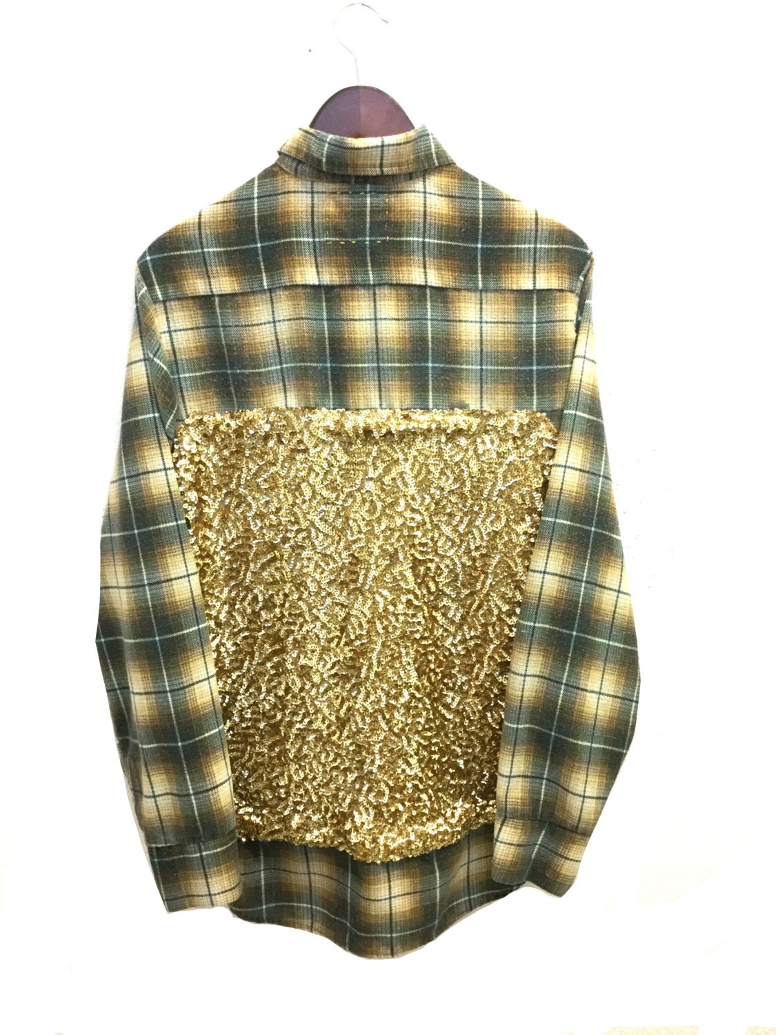 Sequin flannel shirt in gold green plaid front pocket sequins for Green and black plaid flannel shirt