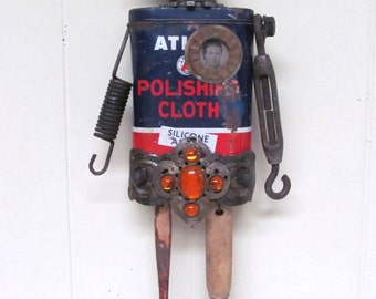 Original Altered Tin Art Doll Found Object Primitive Sculpture