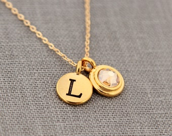 Gold Grandmothers Necklace, November Citrine Birthstone & Initial Jewelry, Personalized Gold Necklace, Push Present