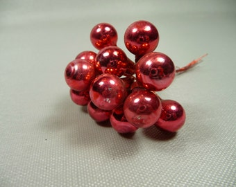 Cranberry Red Vintage Mercury Glass Ball Ornaments Wired Picks for Christmas Decorations Crafts Bunch of 12 NOS