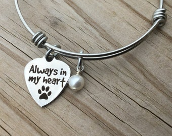 "Pet Memorial Charm Bracelet- ""Always in my heart"" with a paw print- laser etched charm with an accent bead of your choice"