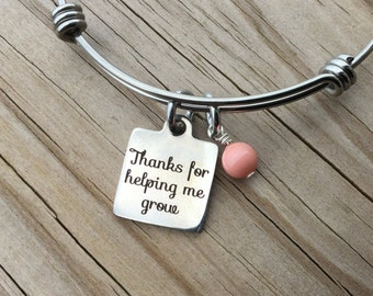 "Teacher, Daycare Provider, Prechool Teacher Charm Bracelet- ""Thanks for helping me grow"" laser etched charm with accent bead of you choice"