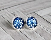 starlight silver plated post earrings, blue, stud