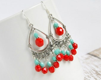 Gypsy silver aqua and red chandelier earrings, boho, bohemian, hippie, red blue, drop earrings