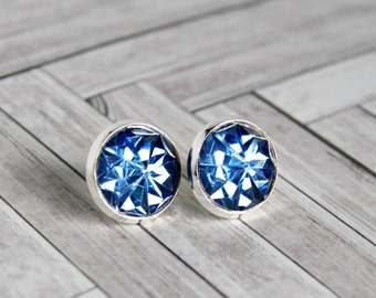 blue silver plated post earrings, stud, sparkle