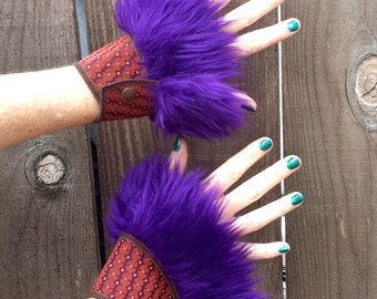 Faux Fur Cuffs, Orange and Purple, Costume, Burning man, Festival, Hipster, Rave, Performance, EDM, Cosplay, Handmade by Sandalamoon