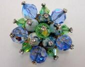 Vintage Blue Crystal Rhinestone Art Glass Brooch
