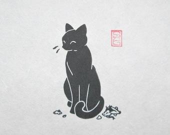 Vanquished! - Black Cat Lino Print